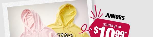 Juniors fleece hoodies starting at $10.99