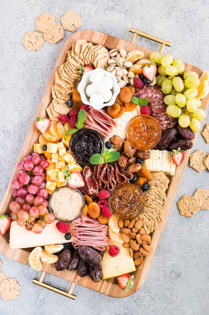 charcuterie board idea - cheese and meat board served with crackers