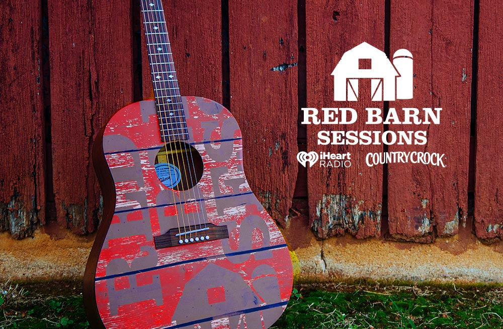 A guitar and Red Barn Sessions, iHeartRadio and Country Crock? logos