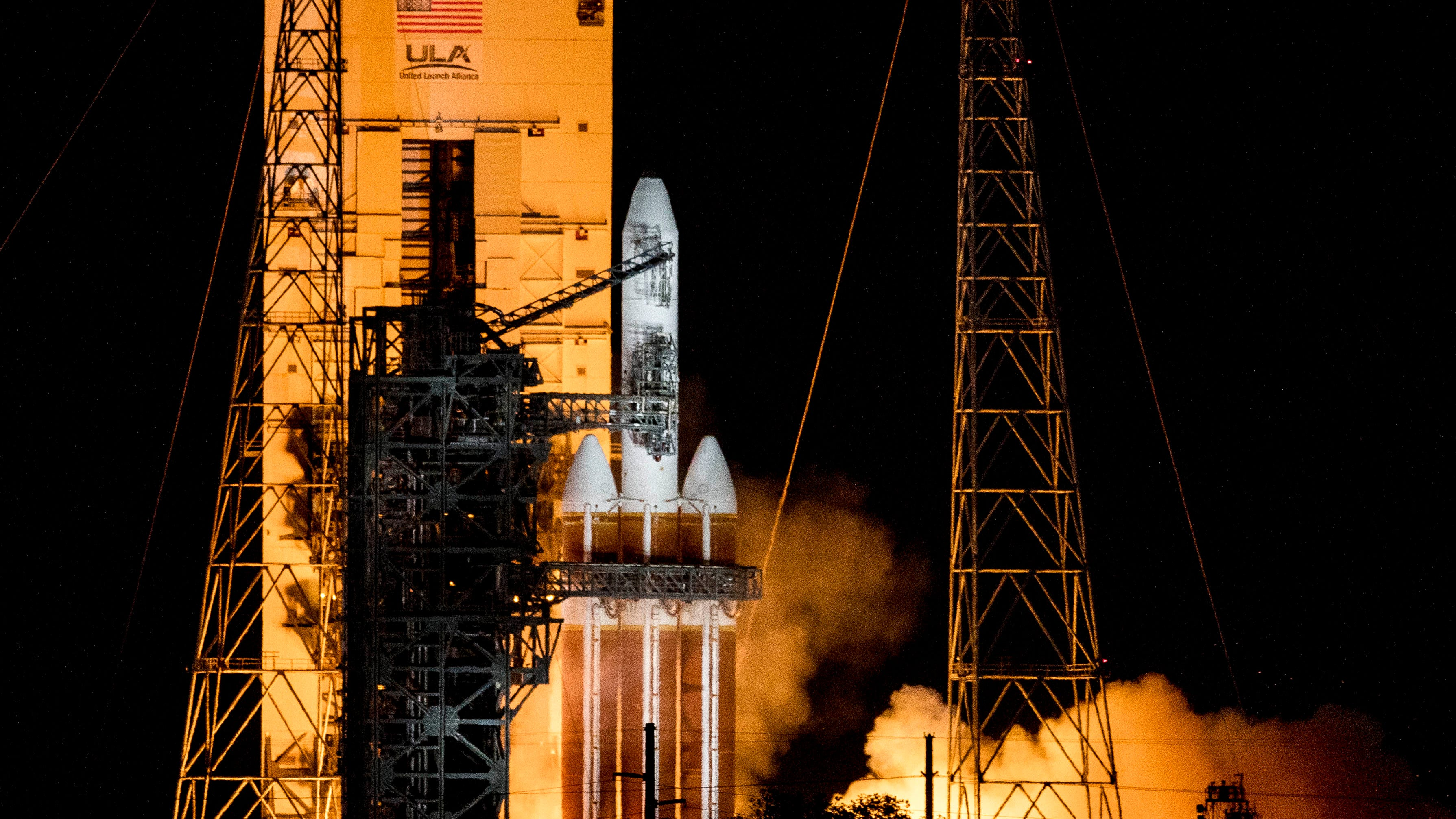 A United Launch Alliance Delta IV Heavy rocket remains on the pad at Cape Canaveral Air Force Station on Saturday, August 29, 2020. Launch of the rocket, carrying a payload for the National Reconnaissance Office, was aborted just before liftoff.
