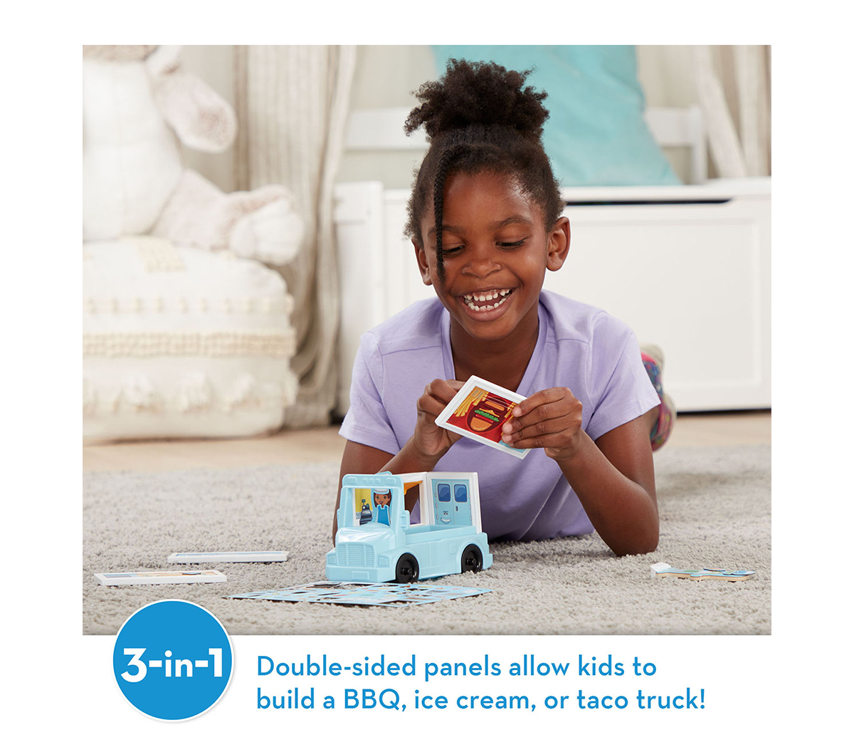 3-in-1: Double-sided panels allow kids to build a BBQ, ice cream, or taco truck!
