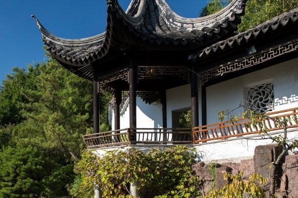 A building at the Chinese Scholar''s Garden on Staten Island
