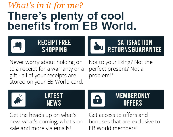 All sorts of benefits for being an EB World member!