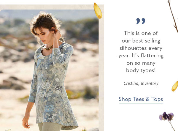 """""""This is one of our best-selling silhouettes every year. It's flattering on so many body types!"""" Shop Tees & Tops."""
