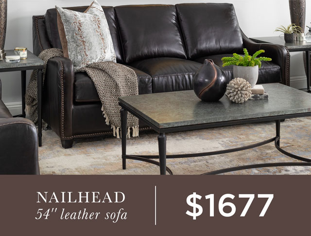 """Nailhead 54"""" Leather Sofa - $1677"""