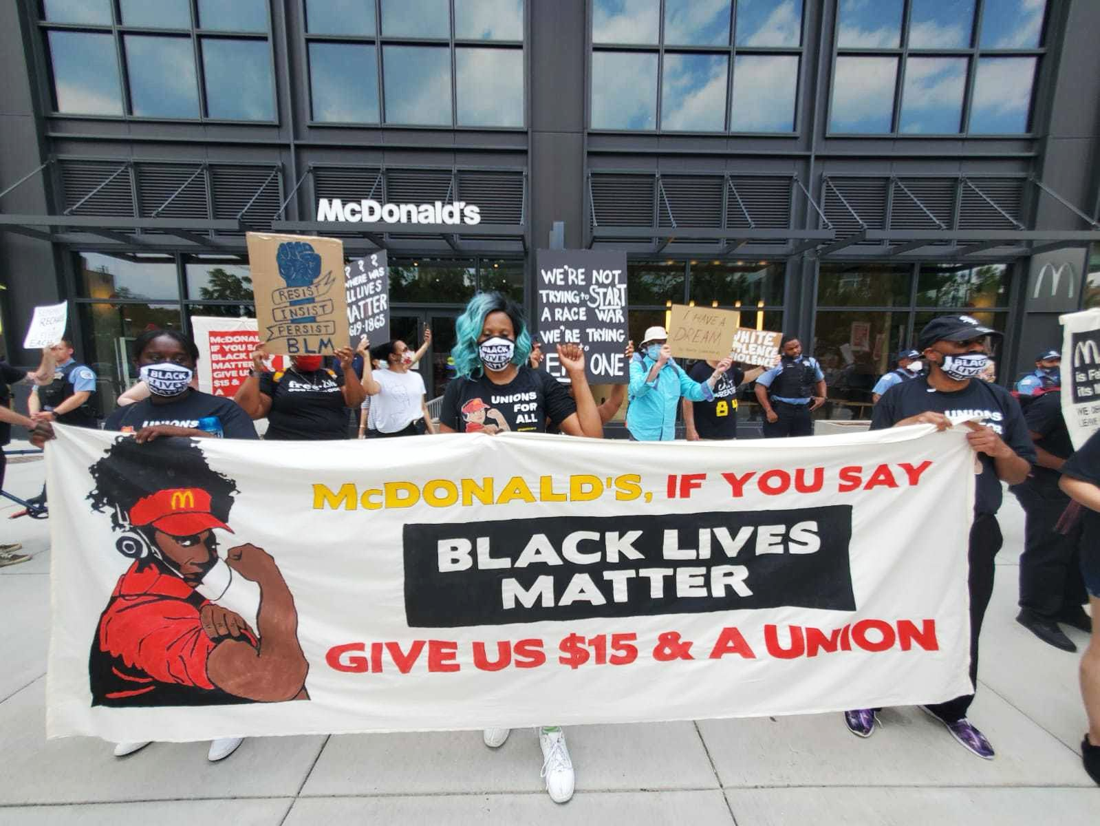 Protesters outside a McDonald''s.