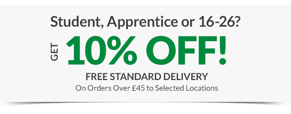 Student, Apprentice of 16-26? Get 10% off free standard delivery on orders over ?45 to selected locations