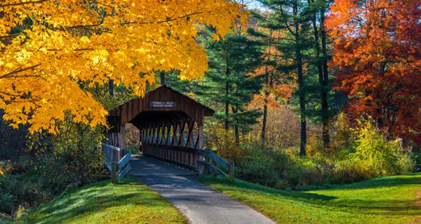 The Thomas L. Kelly covered bridge amid fall foliage