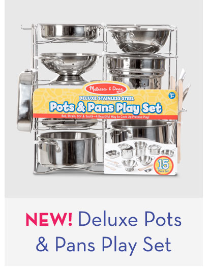 NEW! Deluxe Stainless Steel Pots and Pans Play Set