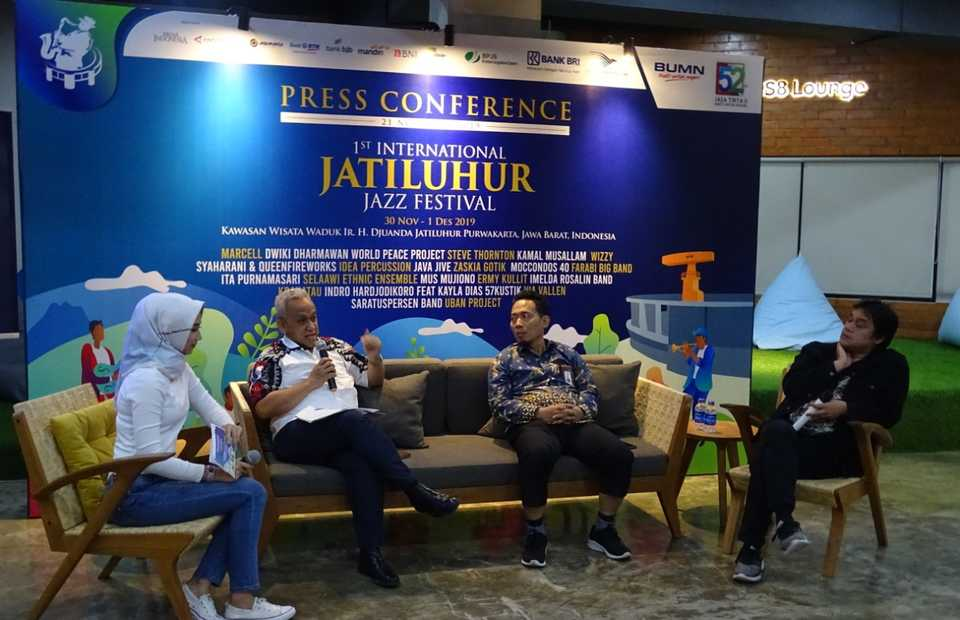 From second from left, U. Saefudin Noer, the managing director of Jasa Tirta II, Ferry Andrianto, the head of public relations at the SOE Ministry and Dwiki Dharmawan, the festival's artistic director. (JG Photo/Nur Yasmin)