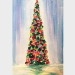 Paint a Holiday Tree as a family at Holiday Paint and Cocoa Party