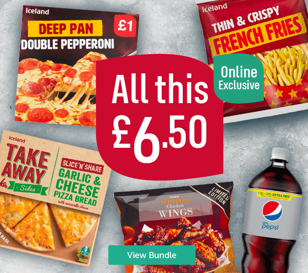 All this �50 Online Exclusive Deep Pan Double Pepperoni Thin & Crispy French Fries Takeaway Garlic & Cheese Pizza Bread Peri Peri Chicken Wings Diet Pepsi View Bundle