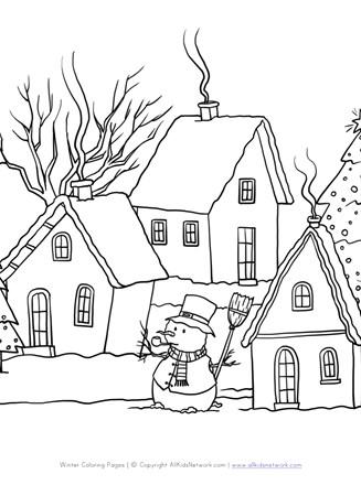 Winter Scene Coloring Page