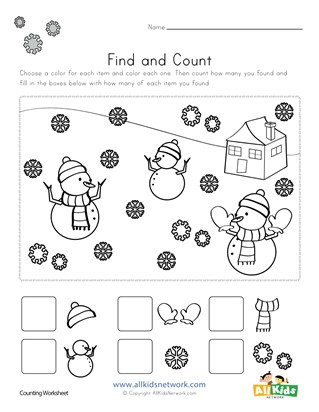 Winter Find and Count Worksheets