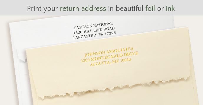 Print your return address in foil or ink