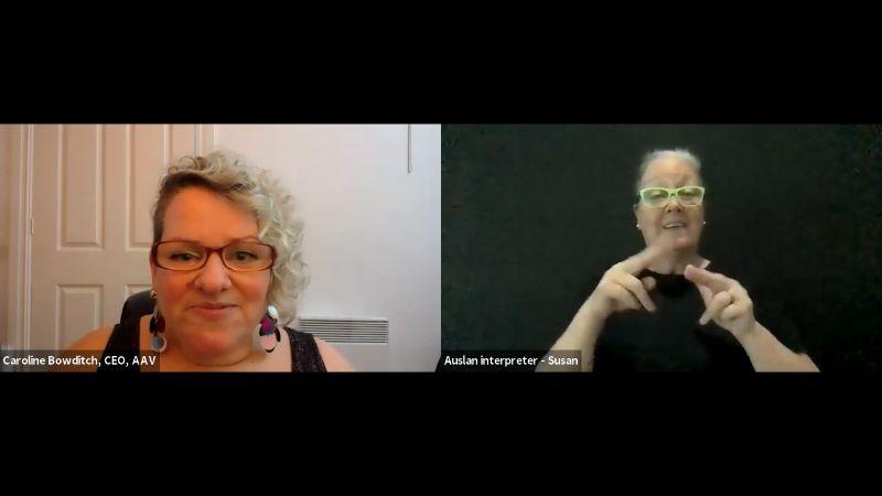 Caroline Bowditch on Zoom with an Auslan interpreter.