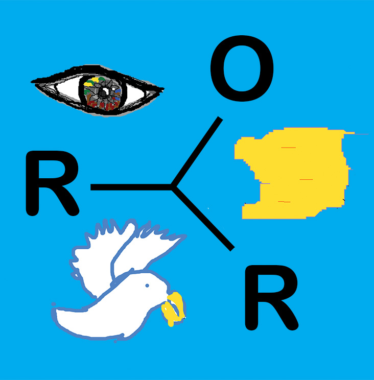 A digital picture of an eye, a bird and a map joint together by the letter O, R and R on a blue background.