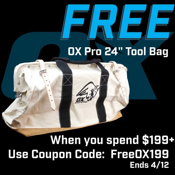 Free OX Pro Tool Bag with Purchase of $199+