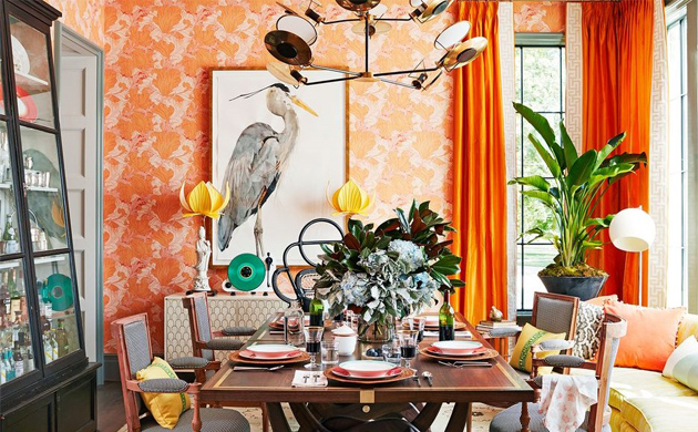DINING ROOM IN VIBRANT FALL COLORS