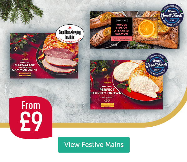 Marmalade flavour glazed Gammon Joint Good Housekeeping Institute Taste Approved 2019 Whole Side of Atlantic Salmon Consumer Tested Consumer Approved The Grocer Great Food 2019 Luxury British Easy Carve Extra Tasty Turkey Crown 100% British Good Housekeeping Institute Taste Approved 2019 From �View Festive Mains
