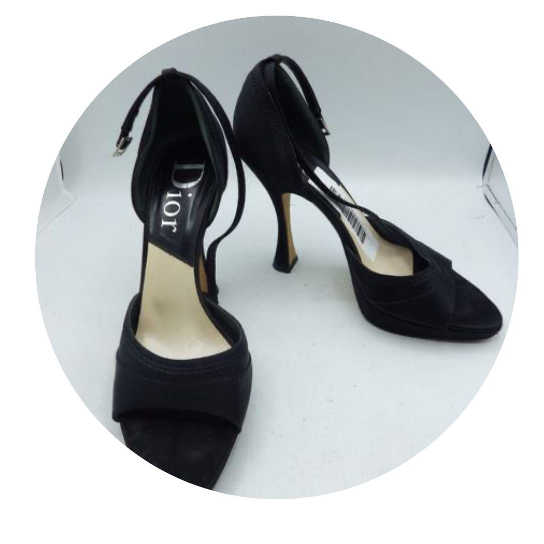 Christian Dior Black D'orsay Black Open Toe Shoe 38.5