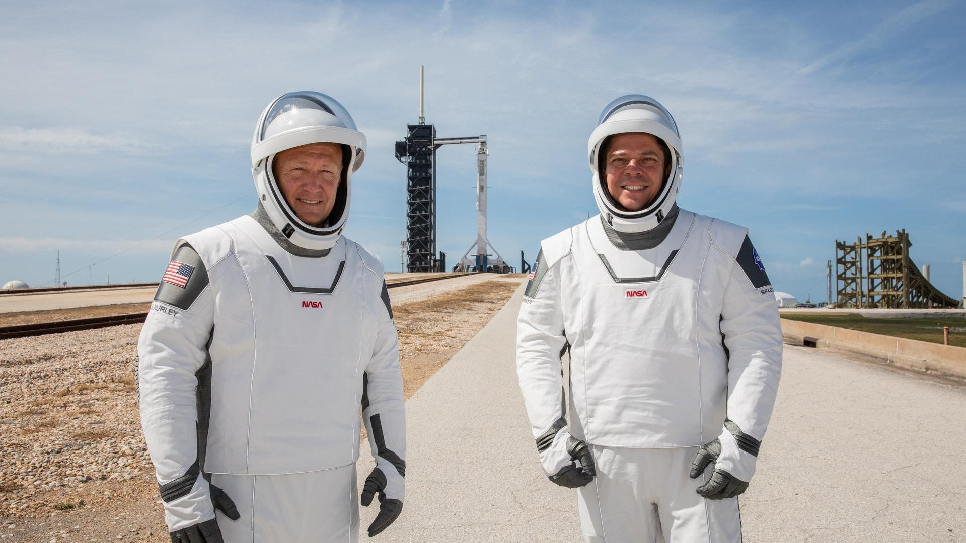 NASA astronauts Bob Behnken and Doug Hurley perform a rehearsal on Saturday, May 23, 2020, for the launch of SpaceX's Demo-2 mission, its first launch of astronauts to the International Space Station.