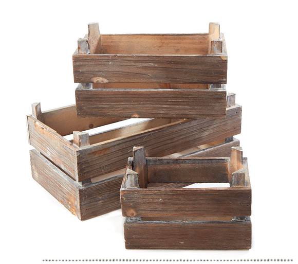 Rustic Farmhouse Wood Crate Set