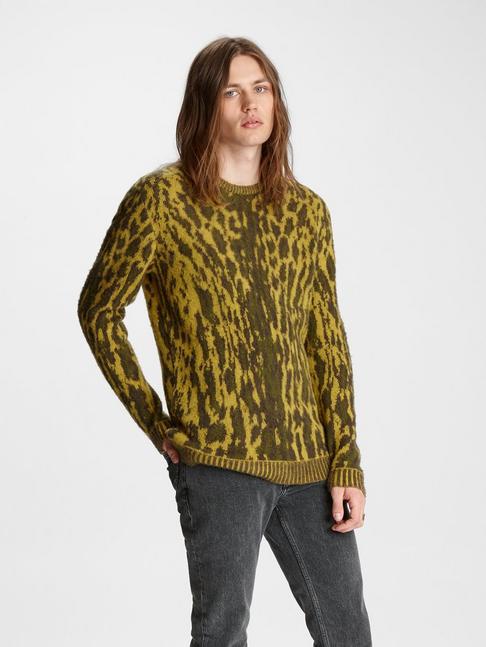 Leopard Jacquard Crewneck Sweater