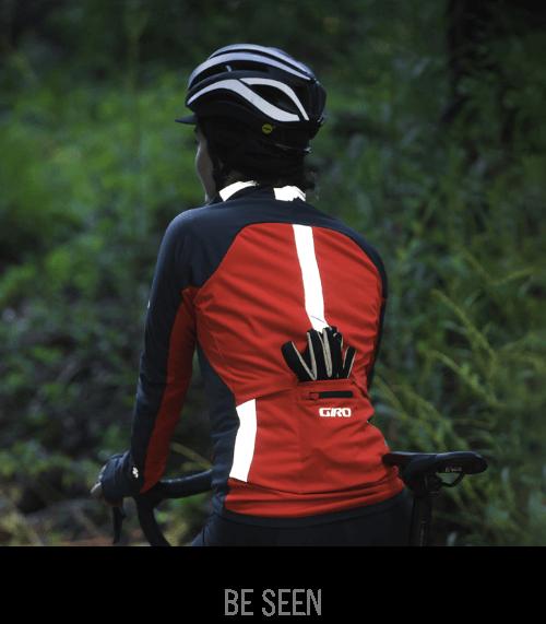 Road rider wearing Giro reflective cycling gear