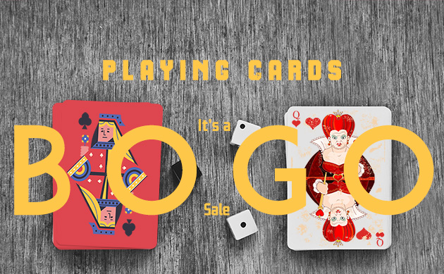 Buy One Get One Free On All Playing Cards With Free Shipping.