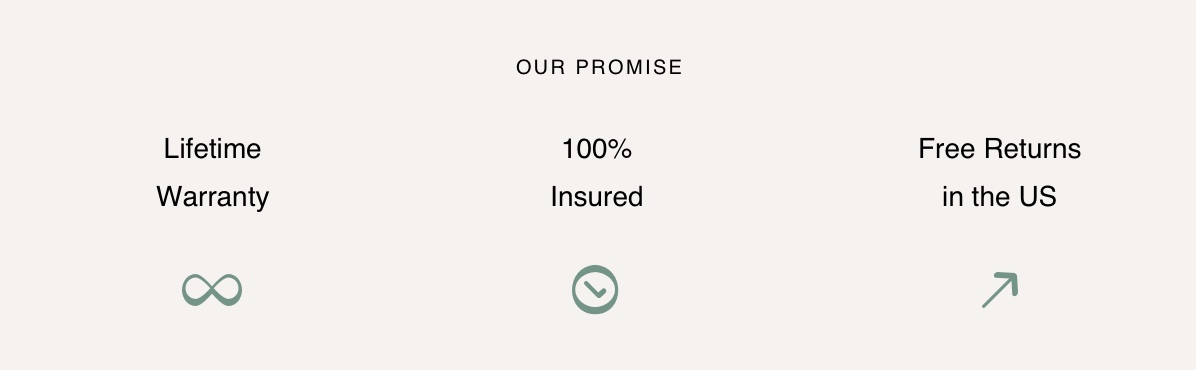 Our promise, lifetime warranty, 100% insured, free returns in the US