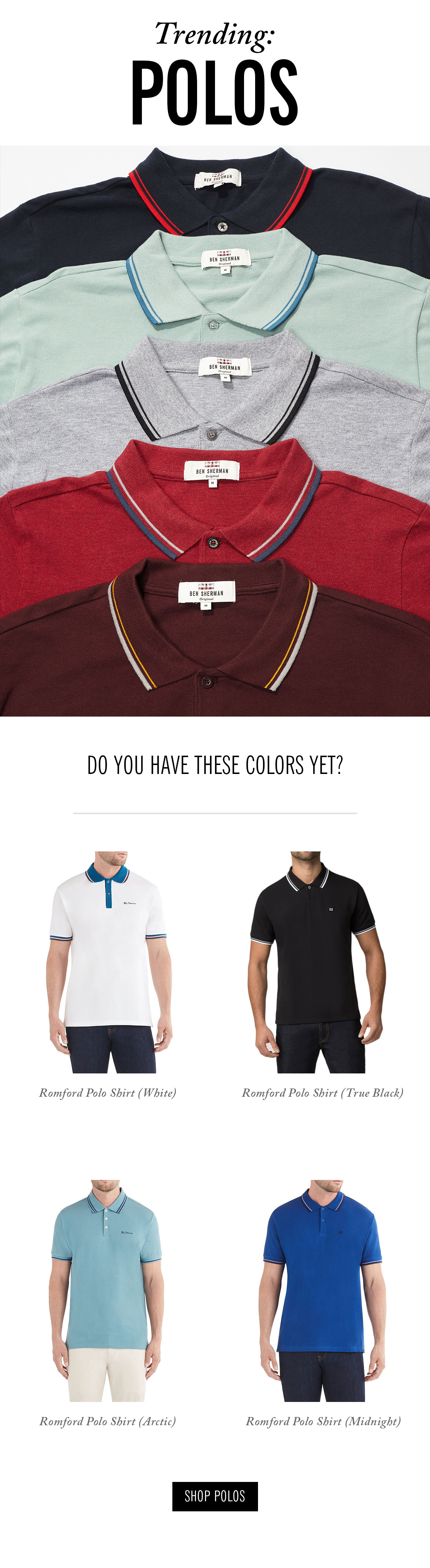 Polo shirts in multiple colors