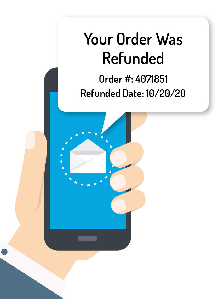 Phone showing order was refunded message