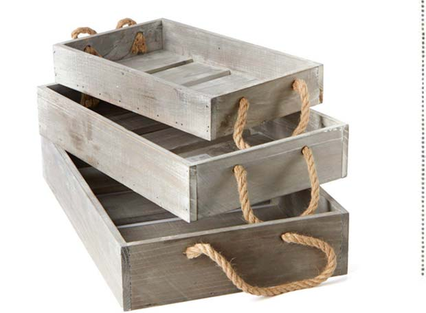 Gray Washed Wooden Tray Set