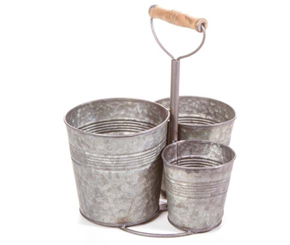 Galvanized Triple Bucket Holder