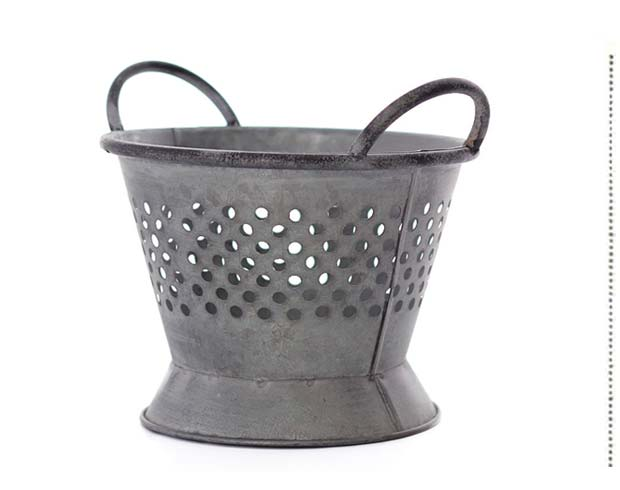 Weathered Galvanized Tin Colander