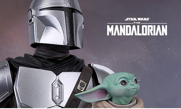 Mandalorian and Child Statue