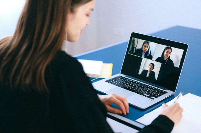 woman on video call on a laptop
