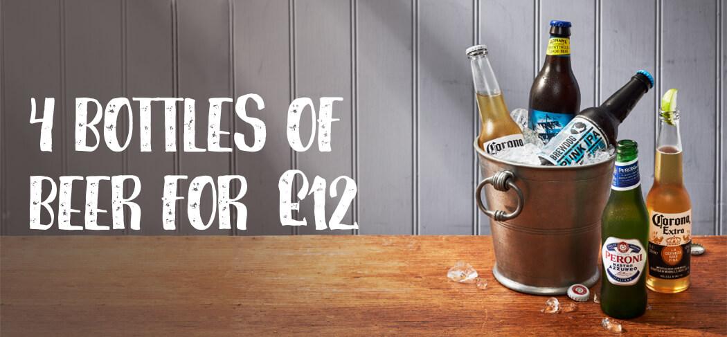 4 BOTTLES OF BEER FOR £12