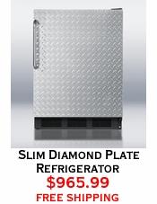 Slim Diamond Plate Refrigerator