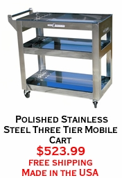 Polished Stainless Steel Three Tier Mobile Cart