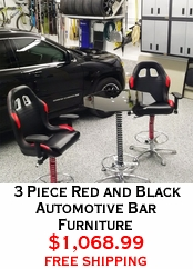 3 Piece Red and Black Automotive Bar Furniture