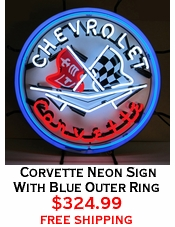 Corvette Neon Sign With Blue Outer Ring