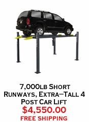 7,000lb Short Runways, Extra-Tall 4 Post Car Lift