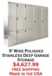 9' Wide Polished Stainless Deep Garage Storage