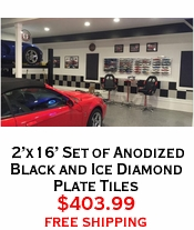 2'x16' Set of Anodized Black and Ice Diamond Plate Tiles