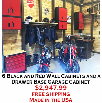 6 Black and Red Wall Cabinets and a Drawer Base Garage Cabinet