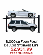 8,000 lb Four Post Deluxe Storage Lift