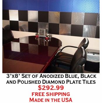 3'x8' Set of Anodized Blue, Black and Polished Diamond Plate Tiles