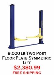 9,000 lb Two Post Floor Plate Symmetric Lift